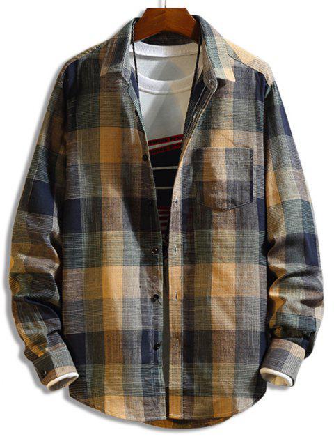 Camisa a Cuadros de Manga Larga con Botón y Bolsillo en Pecho - Multicolor L Mobile
