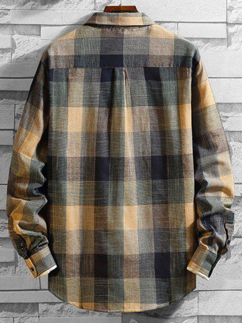 womens Plaid Long Sleeve Button Chest Pocket Shirt - MULTI XL Mobile