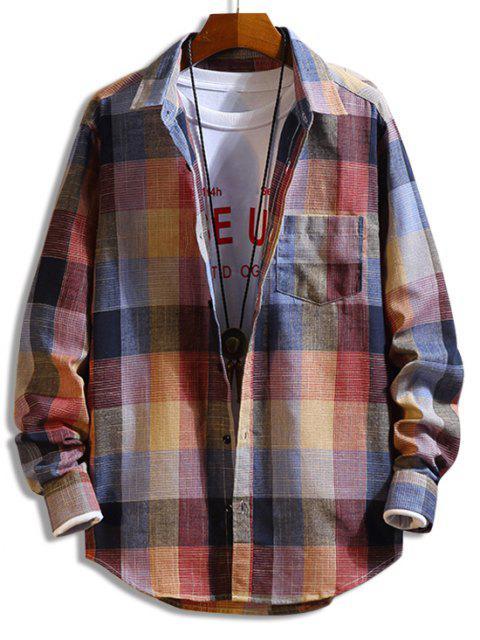 チェック柄長袖ボタン胸ポケットシャツ - 赤 M Mobile