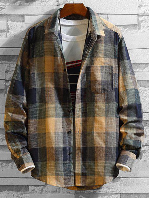 Camisa a Cuadros de Manga Larga con Botón y Bolsillo en Pecho - Multicolor M Mobile