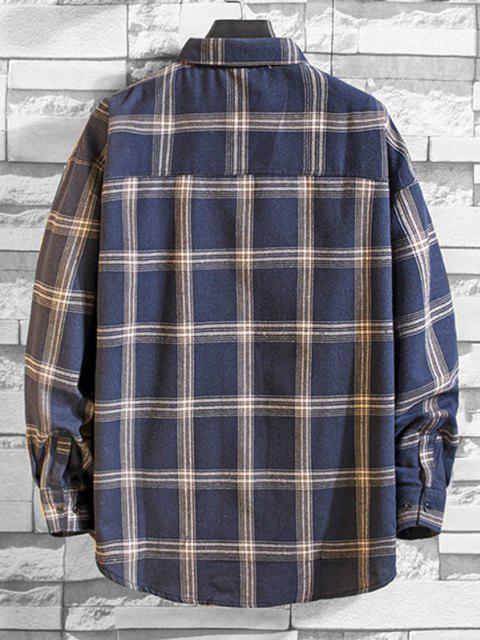 Camisa a Cuadros de Manga Larga con Botón y Bolsillo - Azul 2XL Mobile