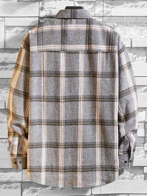 unique Long Sleeve Plaid Pocket Button Shirt - LIGHT GRAY L Mobile