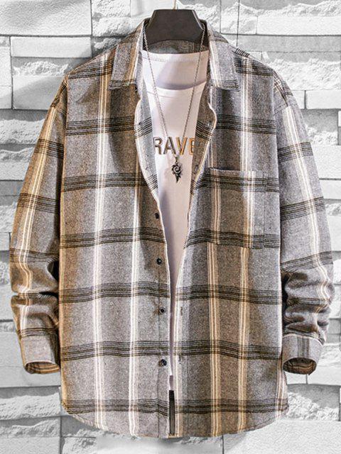 chic Long Sleeve Plaid Pocket Button Shirt - LIGHT GRAY 3XL Mobile