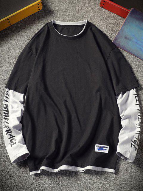 online Letter Colorblock Faux Twinset T-shirt - BLACK XL Mobile
