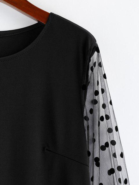 womens Polka Dot Mesh Sleeve Shift Mini Dress - BLACK S Mobile