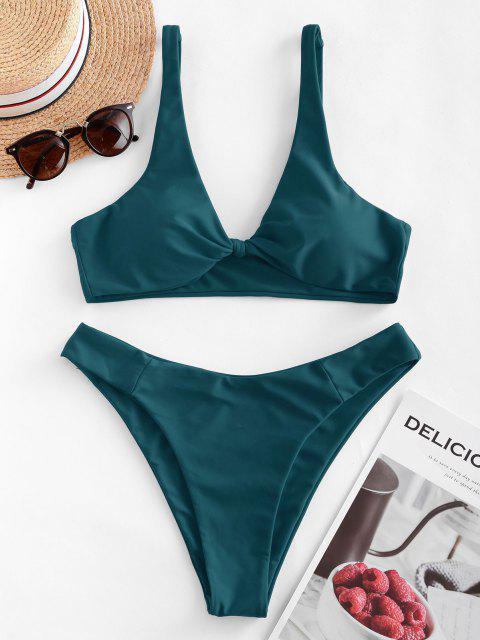 trendy ZAFUL Bow High Leg Bikini Swimsuit - PEACOCK BLUE M Mobile
