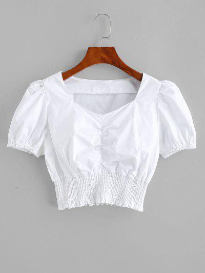 Smocked Ruched Sweetheart Crop Blouse - Silk White S