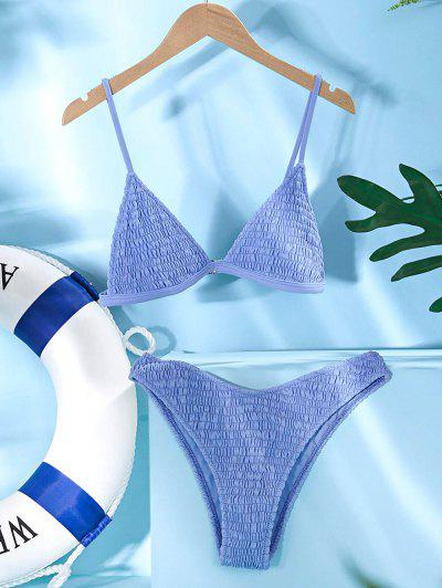 ZAFUL Smocked Solid Unlined Bikini Set - Blue Koi S