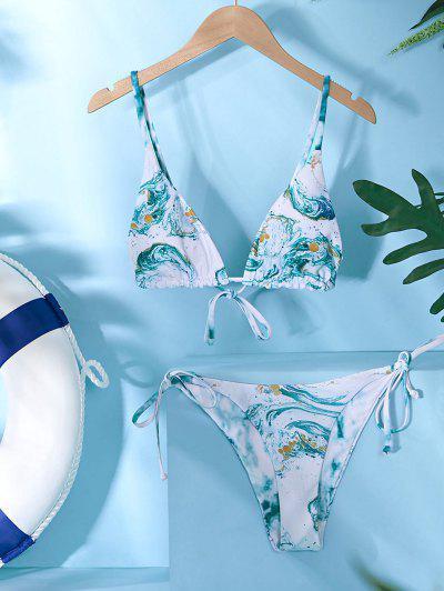 ZAFUL Ocean Print Reversible String Bikini Swimsuit - Light Sea Green S