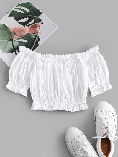 Blusa Recortada Hombros Descubiertos Volantes - Blanco S
