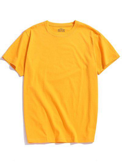 Solid Color Short Sleeve T-shirt - Golden Brown 3xl