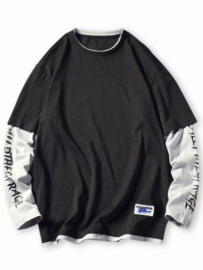 T-shirt Lettre En Blocs De Couleurs Fausse Deux Pièces - Noir 3xl