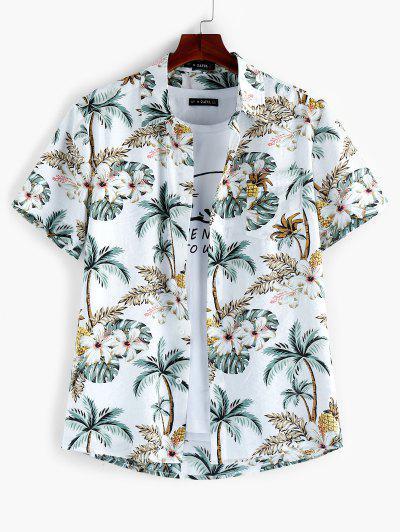 ZAFUL Leaf Floral Printed Short Sleeves Shirt - Multi L