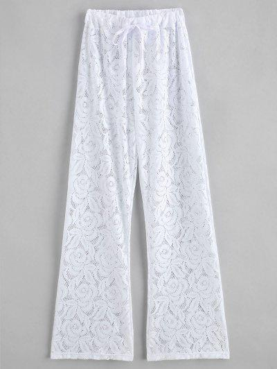 Lace Drawstring See Thru Cover Up Pants - White