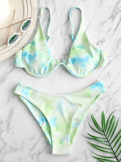 ZAFUL Underwire Tie Dye Bikini Swimsuit - Mint Green S