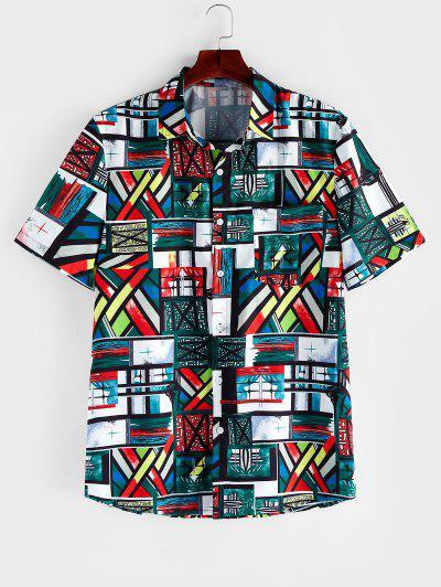 ZAFUL Colored Geometric Print Short Sleeve Button Shirt - Multi S