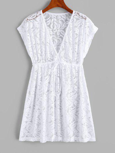 Lace See Thru Surplice Drawstring Cover Up Dress - White