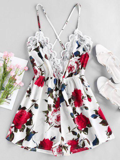 ZAFUL Flower Guipure Lace Criss Cross Cami Romper - White M