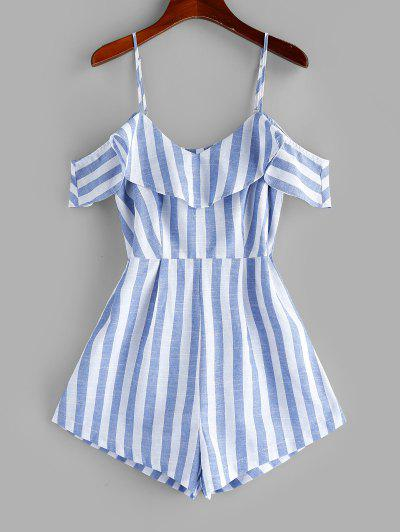 ZAFUL Striped Cold Shoulder Flounce Cami Romper - Light Sky Blue S