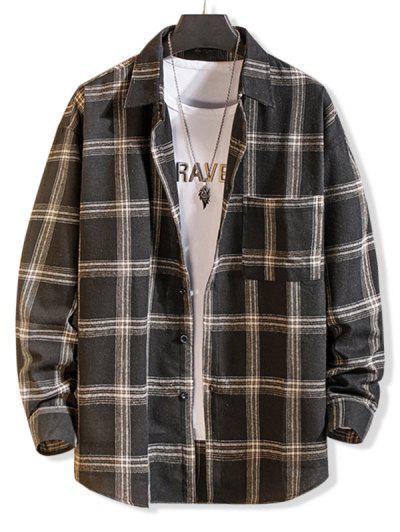 Camisa Simples De Manga Longa Com Botão Bolso - Preto M