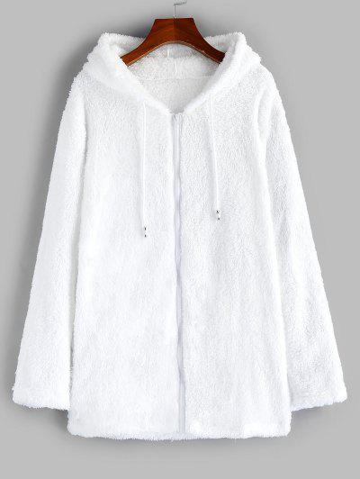 Furry Fleece Zip Up Long Hoodie - White M