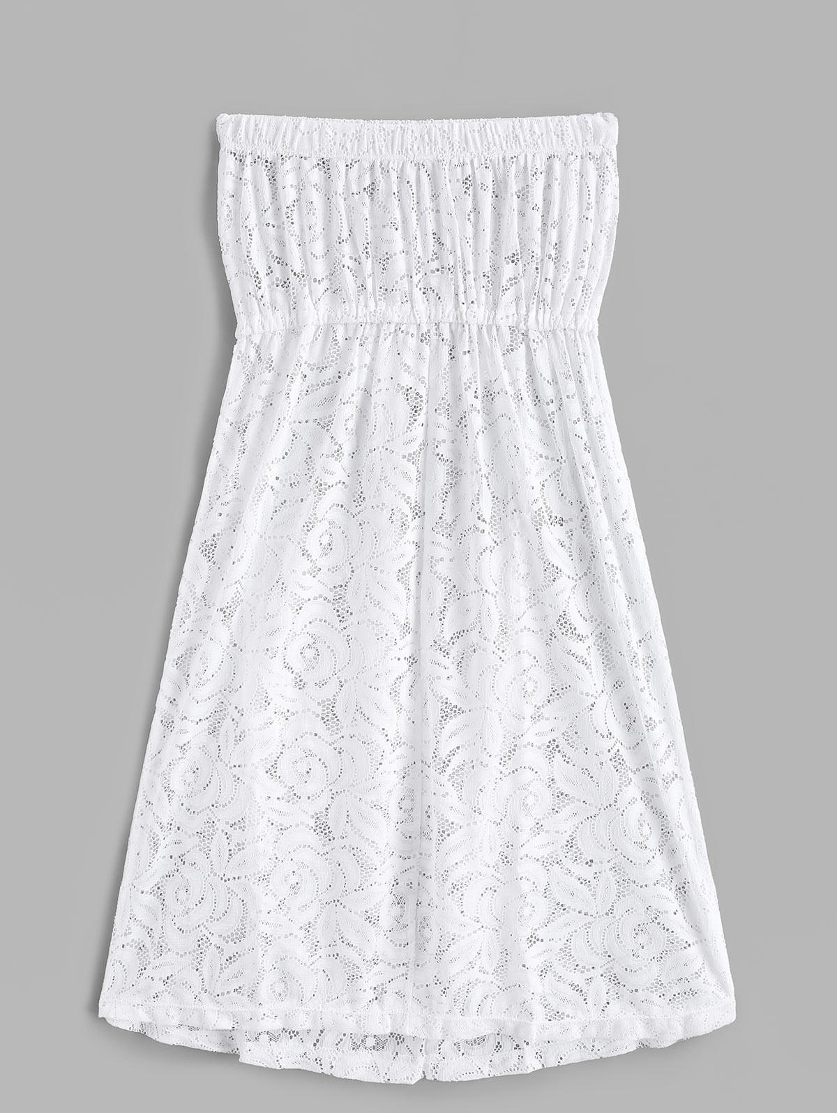 Lace See Thru Bandeau Cover Up Dress