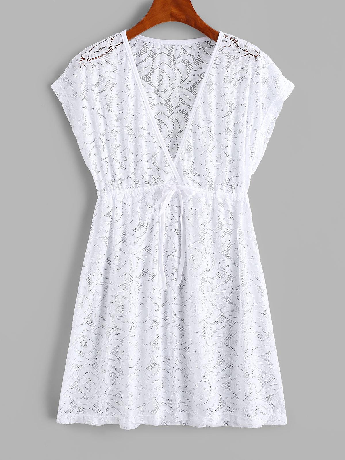 Lace See Thru Surplice Drawstring Cover Up Dress