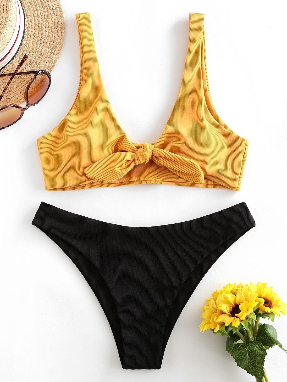 ZAFUL Ribbed Tie Front Bikini Swimsuit фото