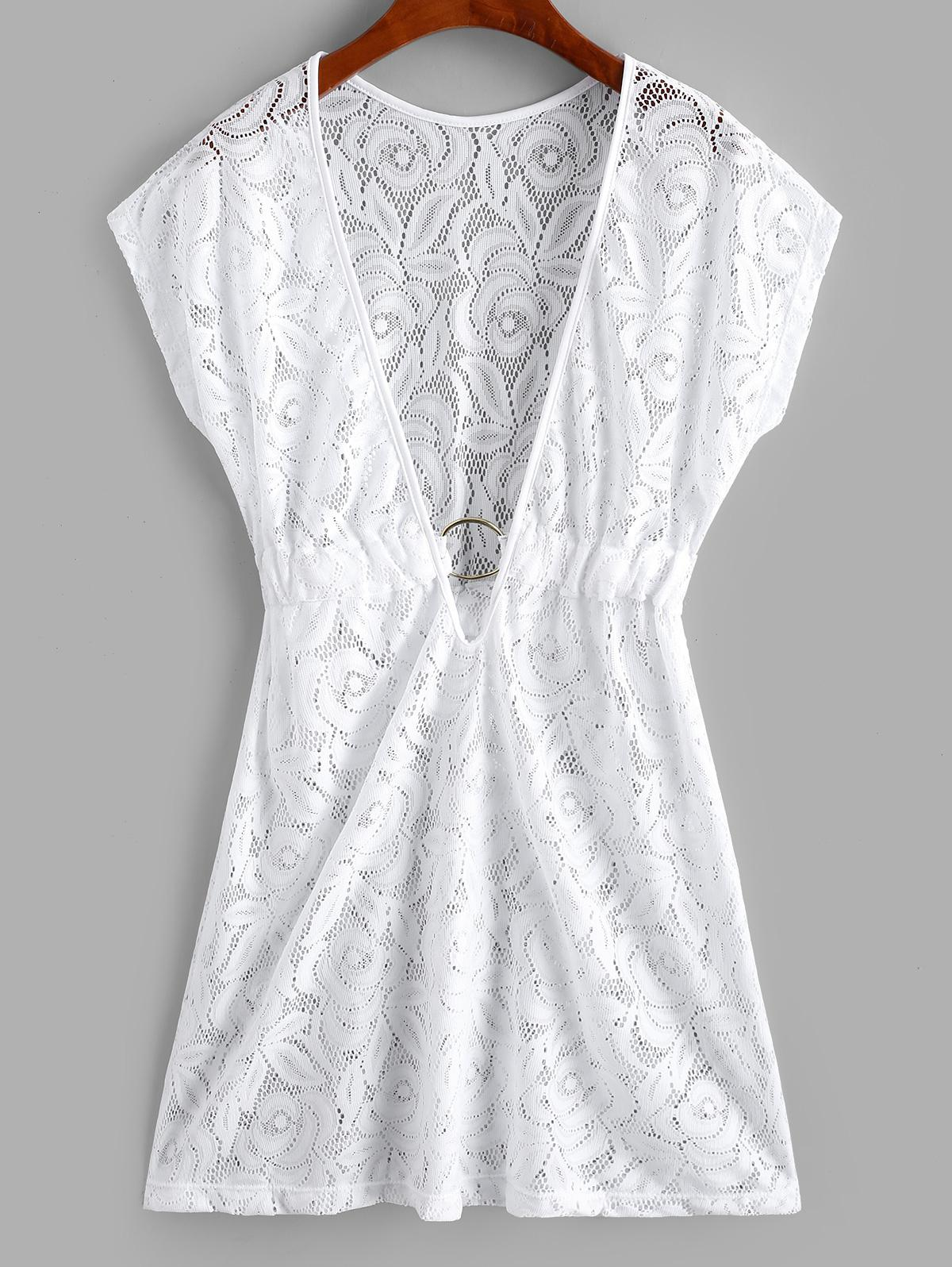Plunge Lace See Thru Ring Cover Up Dress