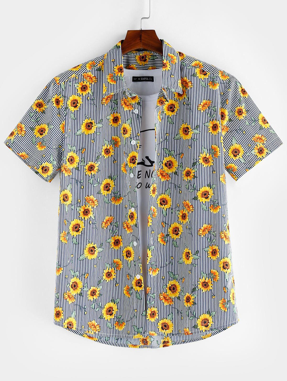 ZAFUL Floral Pattern Button Short Sleeves Shirt thumbnail