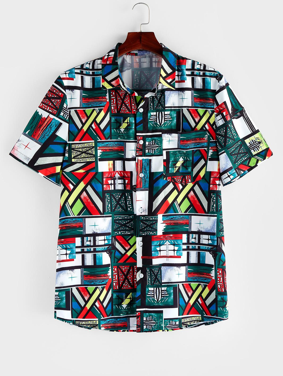 ZAFUL Colored Geometric Print Short Sleeve Button Shirt thumbnail