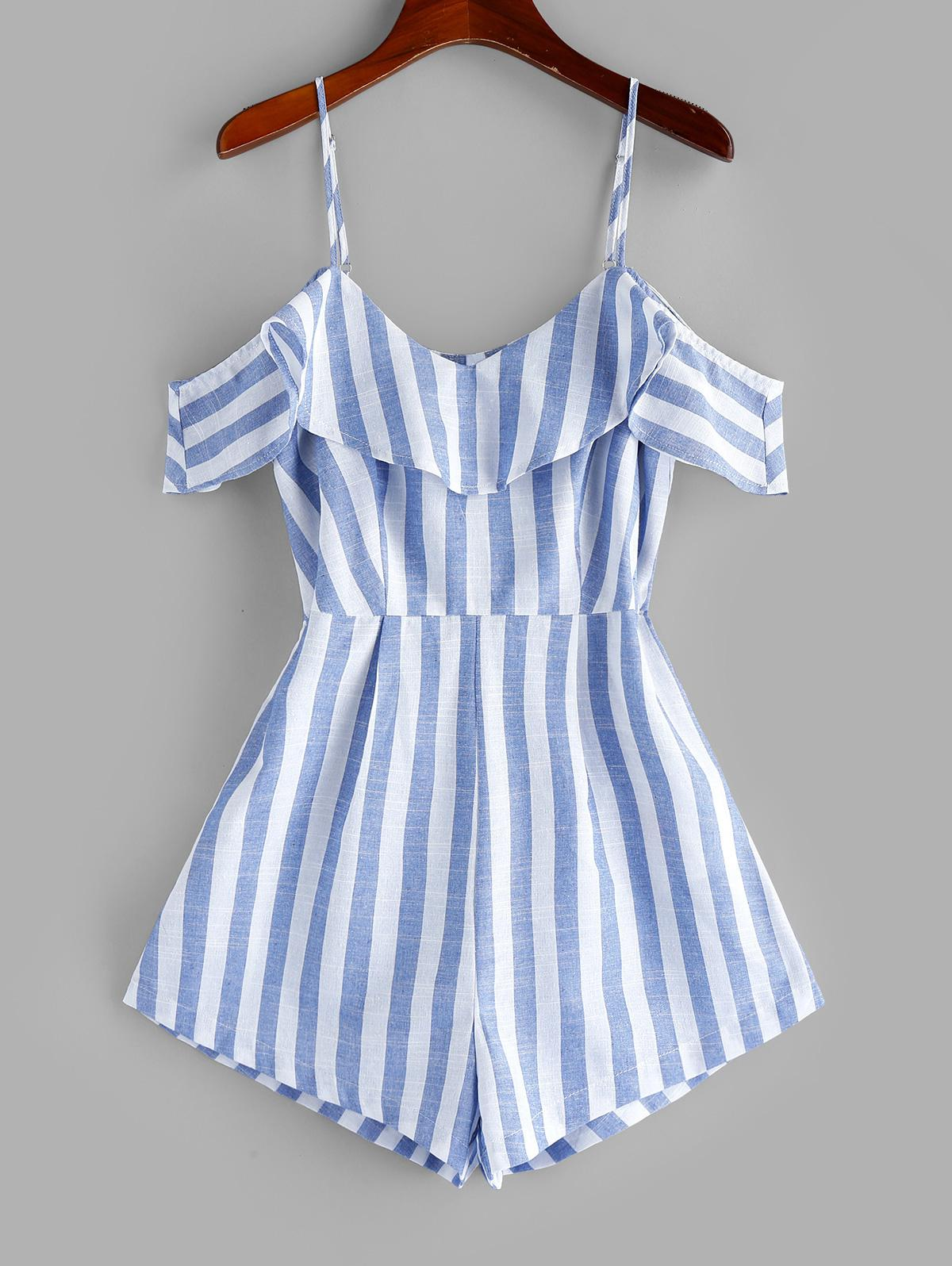 ZAFUL Striped Cold Shoulder Flounce Cami Romper