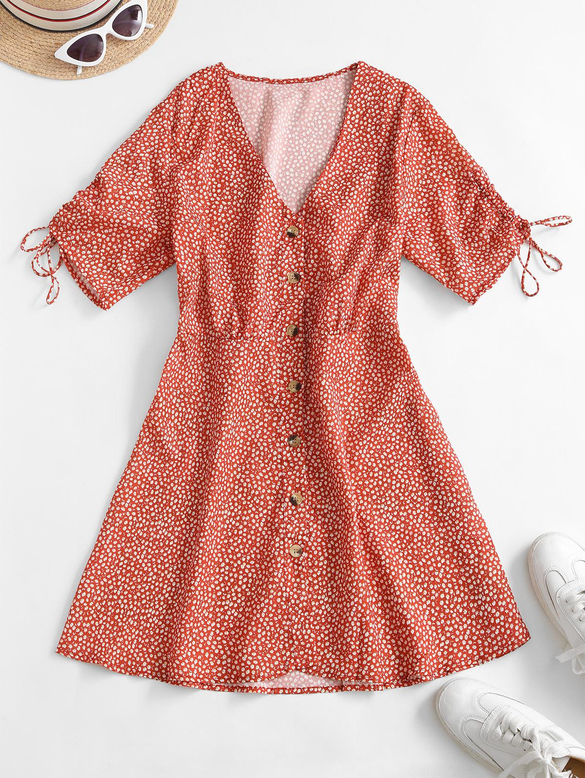 Button Up Cinched Sleeve Ditsy Floral Mini Dress
