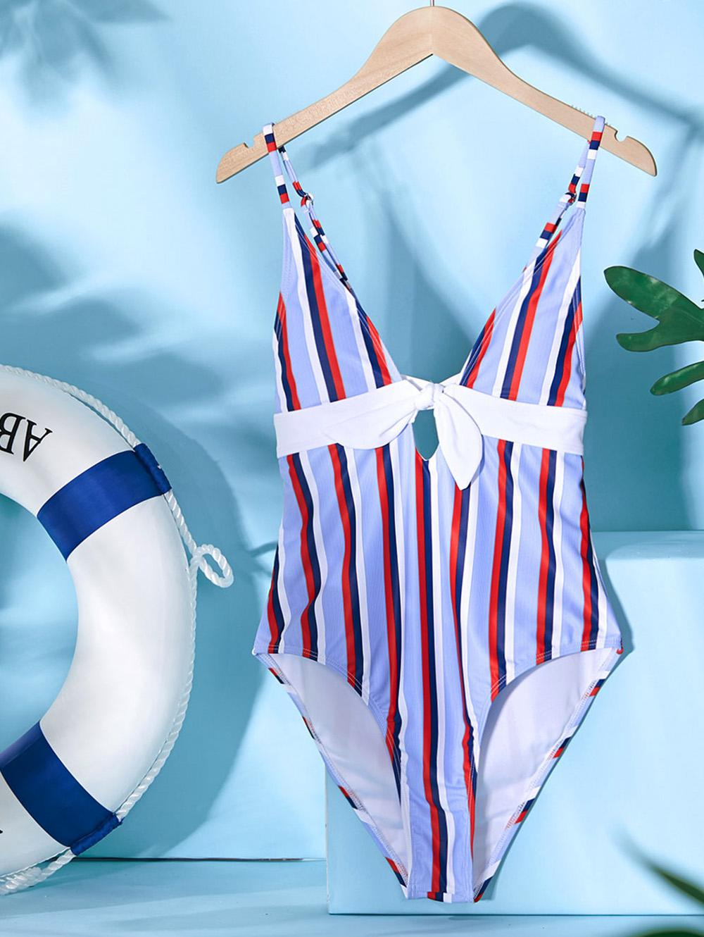 ZAFUL Striped Knotted One-piece Swimsuit фото