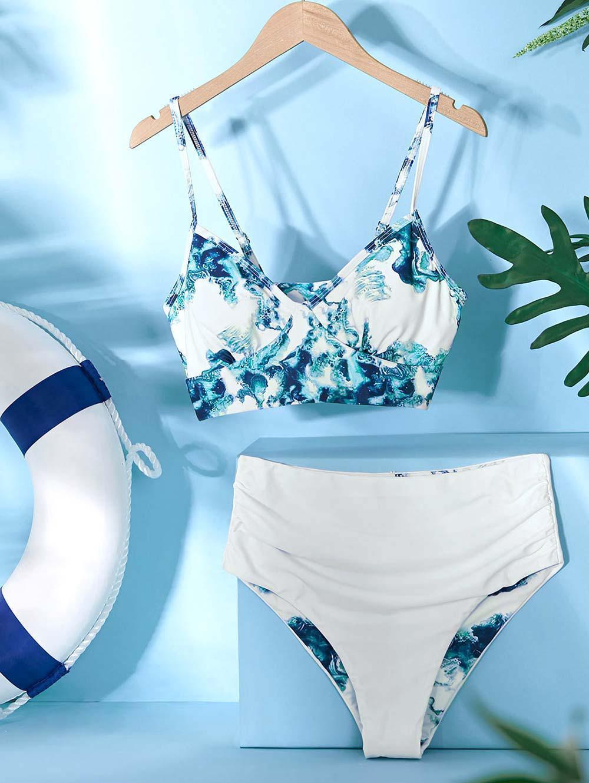 ZAFUL Sea Water Tie Dye Ruched Tankini Swimwear фото