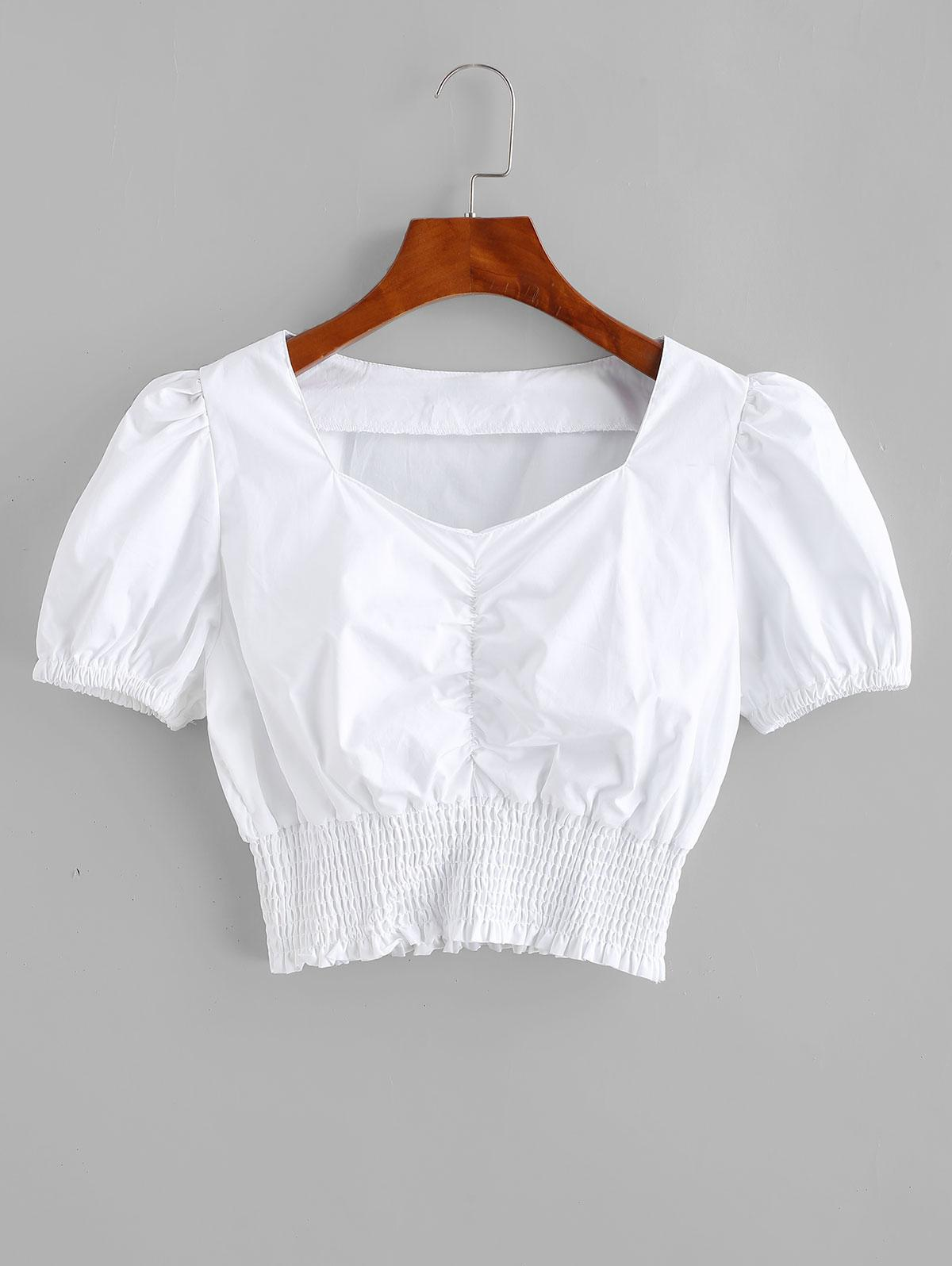 Smocked Ruched Sweetheart Crop Blouse