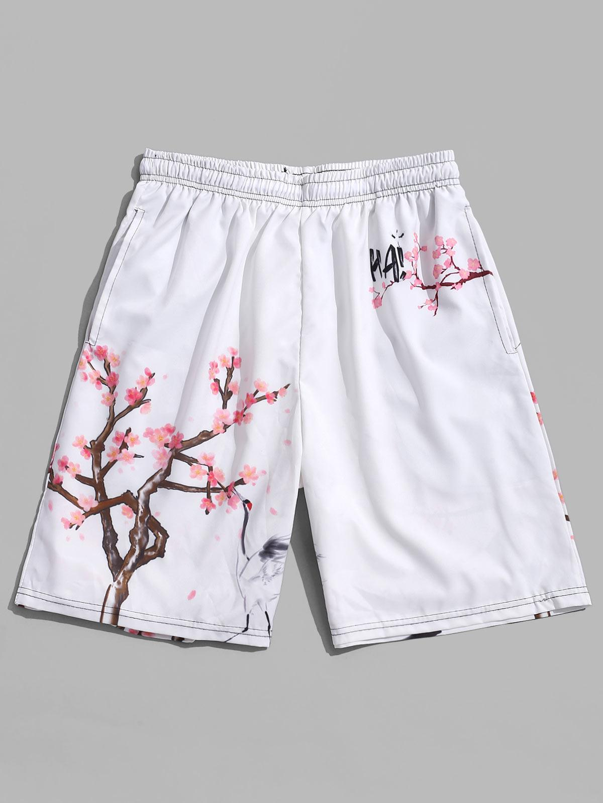 Women Swim Trunks Cherry Tree Branches White Little Flowers Red Beach Board Shorts