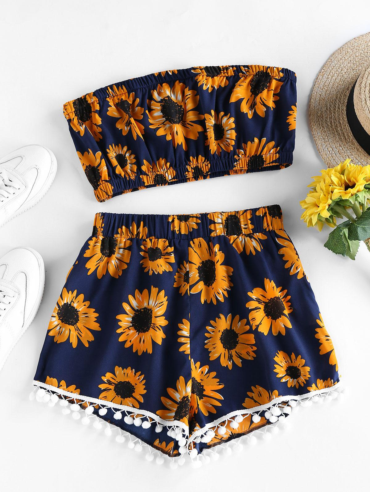 ZAFUL Sunflower Pompom Trim Bandeau Two Piece Set thumbnail