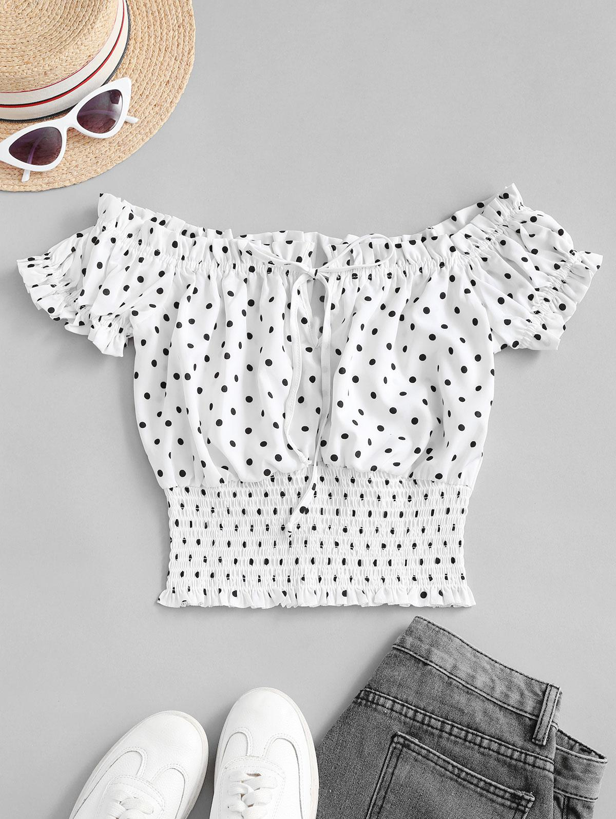 Tie Collar Dotted Smocked Blouse