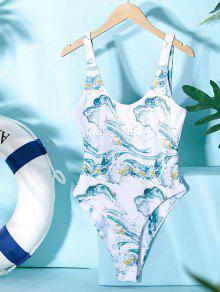 ZAFUL المحيط طباعة عكسية من قطعة واحدة ملابس السباحة - ضوء البحر الاخضر L