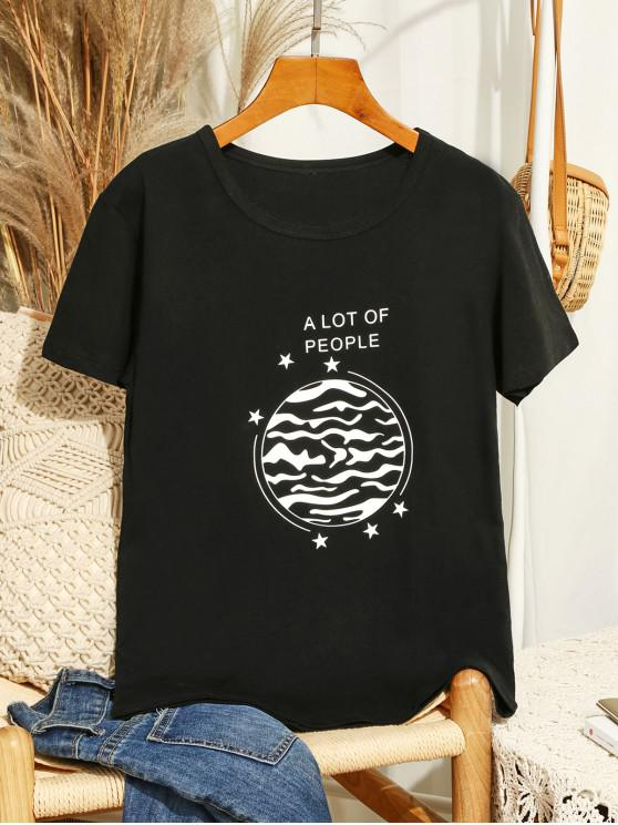 women Short Sleeve A Lot Of People Graphic Tee - BLACK 2XL