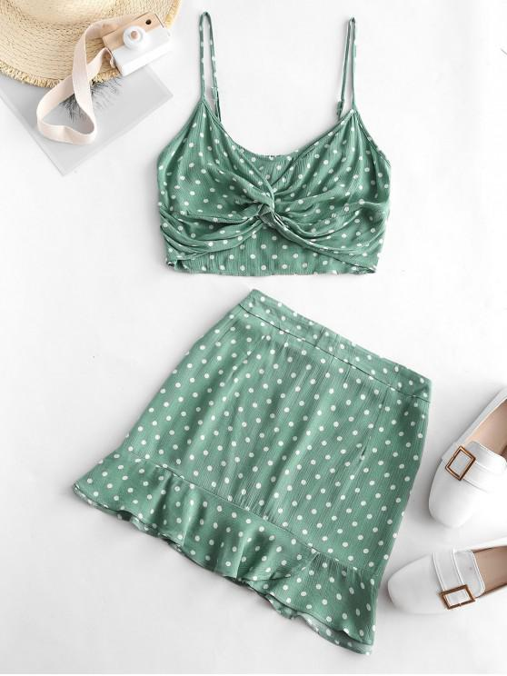 womens ZAFUL Smocked Back Polka Dot Cami Skirt Set - DARK SEA GREEN XL