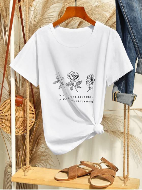 best Flower Slogan Graphic Short Sleeve Tee - WHITE L