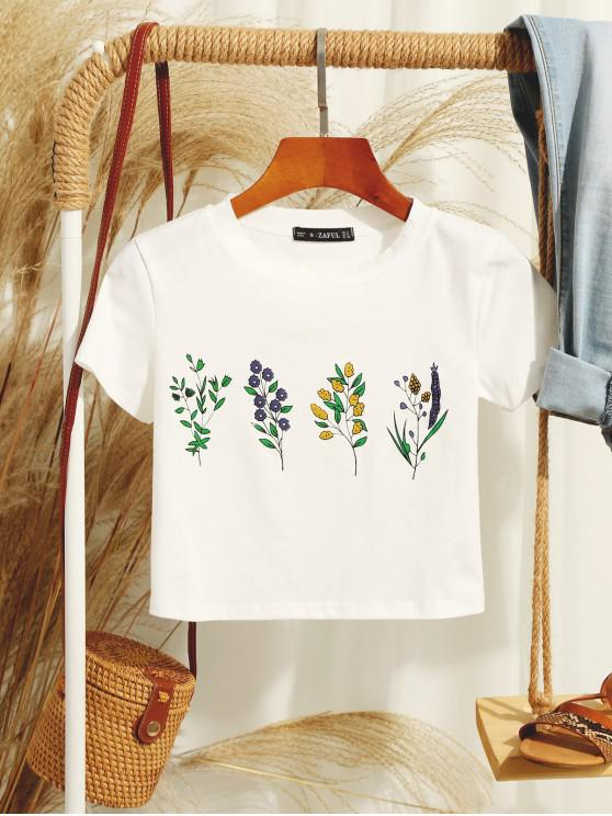 women ZAFUL Flower Print Crop T-shirt - WHITE M