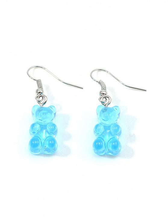 sale Transparent Bear Drop Earrings - SEA BLUE
