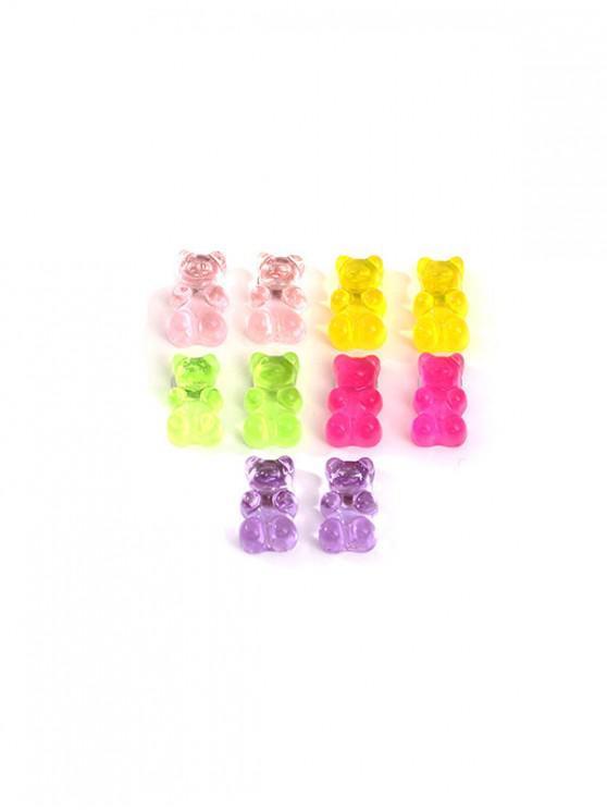 Conjunto de Pendientes de Oso Transparente - Multicolor
