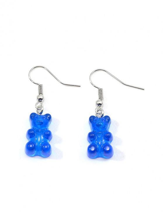 womens Transparent Bear Drop Earrings - BLUE