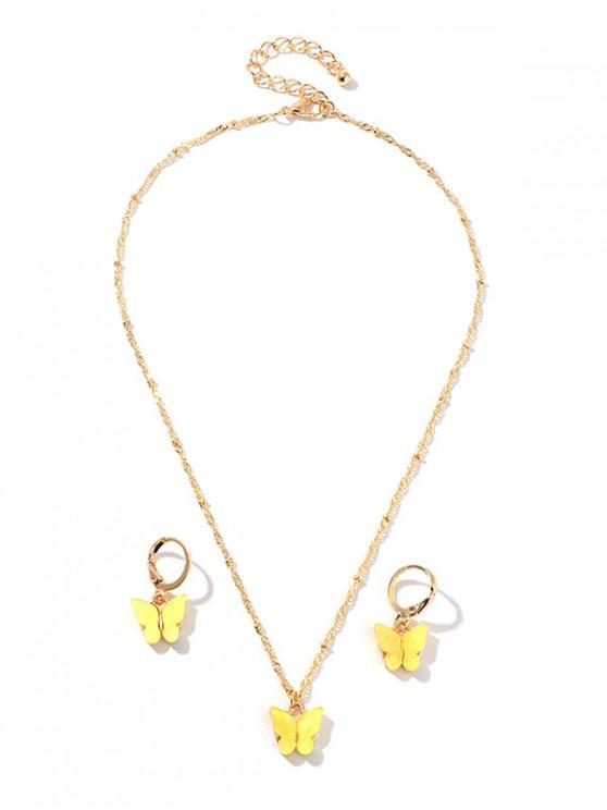 ladies Resin Butterfly Necklace And Drop Earrings Set - YELLOW