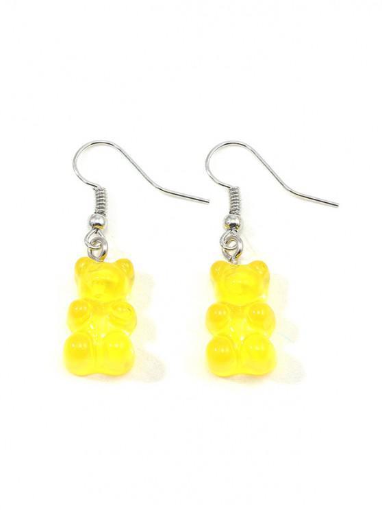 lady Transparent Bear Drop Earrings - YELLOW