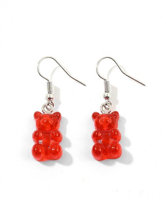 online Transparent Bear Drop Earrings - RED